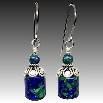 Azurite Malachite Sterling Silver Earrings
