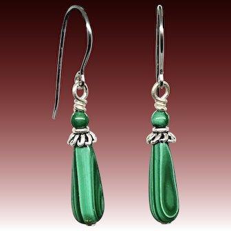 Green Malachite Sterling Silver Earrings