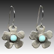 Turquoise Sterling Silver Flower Earrings