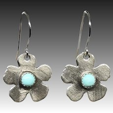 Turquoise Sterling Silver Flower Earrings