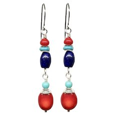 Turquoise Coral And Lapis Sterling Silver Earrings