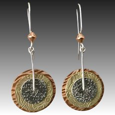Mixed Metal Copper Brass And Silver Textured Earrings