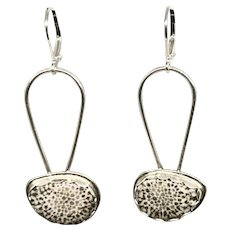 Black Fossil Coral Sterling Silver Earrings
