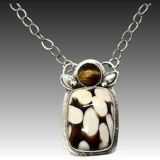 Sterling Silver Peanut Wood Pendant Necklace
