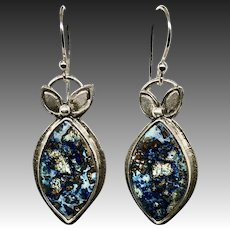 Blue Azurite Sterling Silver Earrings