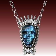 Labradorite Sterling Silver Skull Pendant Necklace