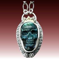 Labradorite Skull Sterling Silver Pendant Necklace