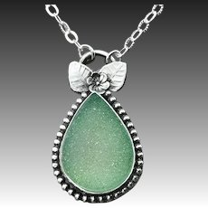 Green Druzy Sterling Silver Necklace