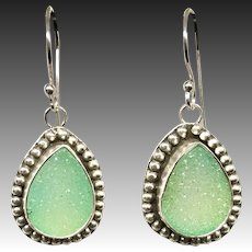Green Druzy Quartz Sterling Silver Earrings