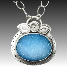 Blue Druzy Sterling Silver Necklace