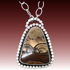Biggs Deschutes Picture Jasper Handmade Sterling Silver Pendant Necklace