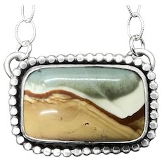 Handmade Landscape Jasper Sterling Silver Gemstone Necklace