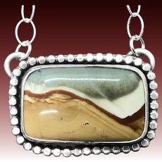 Handmade Landscape Jasper Sterling Silver Gemstone Necklace