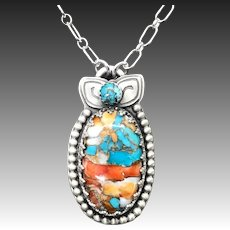 Handmade Turquoise And Spiny Oyster Sterling Silver Gemstone Necklace