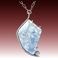 Handmade Owyhee Blue Opal Sterling Silver Pendant Necklace