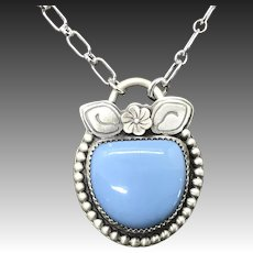 Handmade Blue Opal Sterling Silver Pendant Necklace