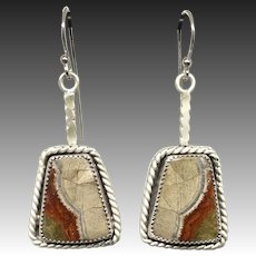Mushroom Rhyolite Jasper Sterling Silver Earrings