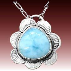 Larimar Sterling Silver Gemstone Necklace