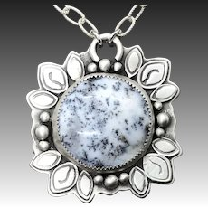 Dendrite Opal Agate Handmade Sterling Silver Gemstone Necklace