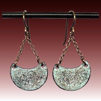 Blue Copper Enamel Earrings