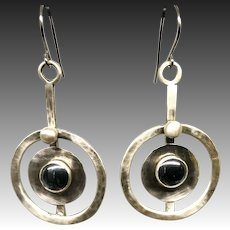 Hematite Reticulated Sterling Silver Textured Earrings