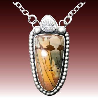 Cherry Creek Jasper Sterling Silver Pendant Necklace