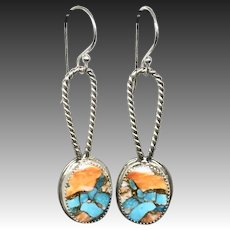 Spiny Oyster Turquoise Sterling Silver Earrings