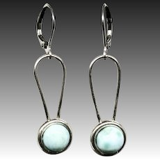 Larimar Sterling Silver Earrings