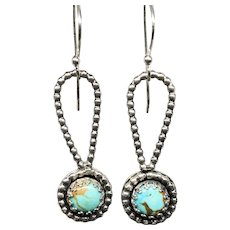Turquoise Sterling Silver Rope Earrings