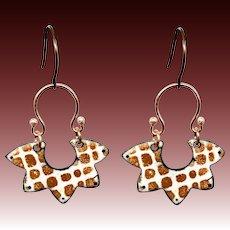 Giraffe Print Abstract Enamel Earrings