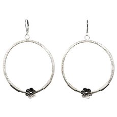 Large Textured Sterling Silver Hoop Earrings