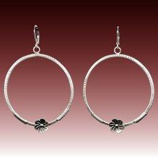 Large Textured Sterling Silver Hoop Earrings
