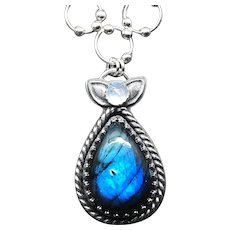 Sterling Silver Labradorite And Moonstone Pendant Necklace