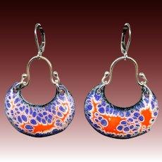 Blue And Orange Enamel Earrings