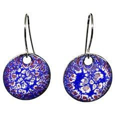 Blue And Red Enamel Earrings