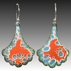 Red And Blue Abstract Enamel Earrings