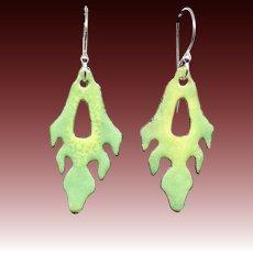 Green Leaf Enamel Earrings