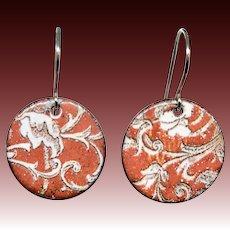 Colorful Red Enamel Earrings