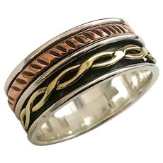 Copper Brass And Sterling Silver Spinner Ring