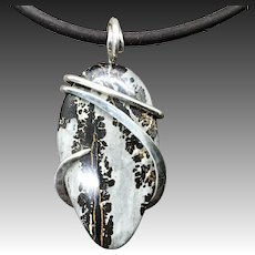Sonoran Dendritic Rhyolite Sterling Wrapped Pendant Necklace