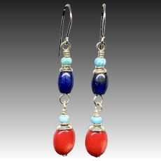 Red Coral Turquoise Lapis And Turquoise Sterling Silver Earrings