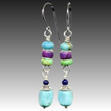 Purple Green Turquoise And Lapis Sterling Silver Earrings