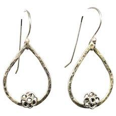 Textured Sterling Silver Hoop Earrings