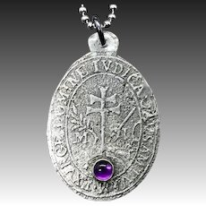 Silver And Amethyst Relic Pendant Necklace
