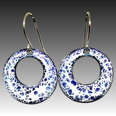 Blue And White Abstract Enamel Copper Hoop Earrings