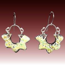 Rustic Green Enamel Earrings