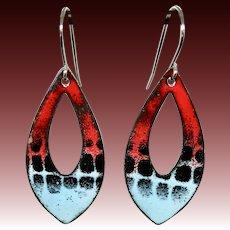 Red Black And Blue Enamel Earrings