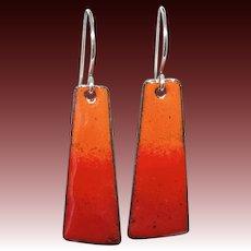 Red Ombre Enamel Earrings