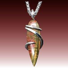 Red Creek Jasper Sterling Silver Wire Wrap Pendant Necklace