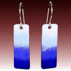 Blue Ombré Enamel Earrings